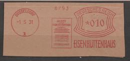 Deutsches Reich Briefstück Mit Freistempel Düsseldorf 1931 Eisenhüttenhaus Archiv Für Das Eisenhüttenhaus - Poststempel - Freistempel