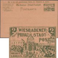 Allemagne Hesse Vers 1895. Entier De Poste Privée, Wiesbaden. Hôtel Kaiserhof, Augusta Victoria-Bad, Jugendstil RRR - Termalismo