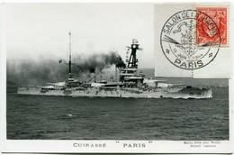 """FRANCE CARTE POSTALE CUIRASSE """" PARIS """" AFFRANCHIE AVEC LE N°537 AVEC OBL ILL SALON DE LA MARINE 13 JUIN 1944 PARIS - Barche"""