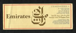 UAE Emirates International Airline Transport Ticket Used  Passenger Ticket  See Next Scan - Unclassified