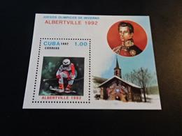 K49080 - Bloc Mint Hinged Cuba  - Olympics Albertville 1992 - Winter 1992: Albertville