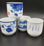 4x  Mini Tea Cup Bol JAPON   XXe Ancien Ht 6 Cm #nippon #kaolin #porcelaine Extra Fine #rare - Asian Art