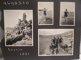 1931 Savona ALASSIO Persone Sulla Spiaggia. Boys & Girls On The Beach. 8 Foto Incollate Su Tavola Album - Other