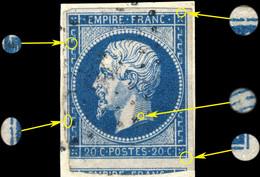 France - Yv.14A 20c Bleu T.I Planché 076D4 Oblitéré  Sur Petit Fragment - 1853-1860 Napoleon III