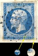 France - Yv.14A 20c Bleu T.I Planché 063G2 Oblitéré TB Sur Petit Fragment - 1853-1860 Napoleon III