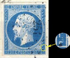 France - Yv.14A 20c Bleu T.I Planché 012D1 Oblitéré Pc 251 (BARBEZIEUX) TB Sur Petit Fragment - 1853-1860 Napoleon III