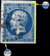 France - Yv.14A 20c Bleu T.I Planché 081G2 Oblitéré Pc 83 (ANGOULÊME) TB Sur Petit Fragment - 1853-1860 Napoleon III