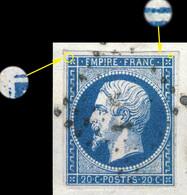France - Yv.14A 20c Bleu T.I Planché 036D4 Oblitéré TB Sur Petit Fragment - 1853-1860 Napoleon III