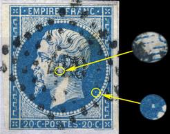 France - Yv.14A 20c Bleu T.I Planché 139D4 Oblitéré Pc 420 (BLOIS) - B (marges Courtes) Sur Petit Fragment - 1853-1860 Napoléon III