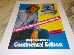 ANCIENNE  PUBLICITE JOHNNY HALLYDAY ET MAGNESTOSCOPE CONTINENTALE  1981 - Televisione