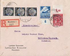 DR R-Brief Lettisches Konsulat Mif Minr. 3x 512,599 OR, 603 UR Mannheim 14.1.36 Gel. In Schweiz - Briefe U. Dokumente