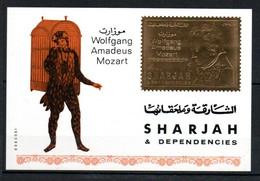 V16  Sharjah Timbre En Or Ou En Argent ** Thématique Mozart  A Saisir !!! - Sharjah