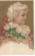 CPA ,Précurseur ,Th. Illustrateur , Jeune Fille Encadrée De Fleurs Fond Doré, Ed. Dos Simple - 1900-1949
