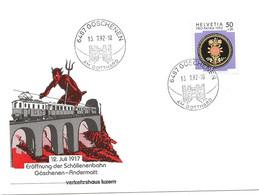 """408 - 40 - Envelioppe Avec Cachets Illustrés Göschenen 1992 """"1917 Eröffnung Schöllenenbahn Göschenen-Andermatt"""" - Marcofilie"""