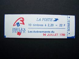 2376-C12 CONF. 9 CARNET 14 JUILLET 1789 FERME 10 TIMBRES LIBERTE DE GANDON 2,20 ROUGE (BOITE B) - Standaardgebruik