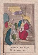 Image Pieuse Gravure Colorisée Sur Papier Velin 19 ème  -  Datée 1822 - Atelier Inconnu - Adoration Des Mages - Santini