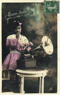 Portrait Fillette Avec Un Gramophone Bonne Année RV - Retratos