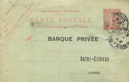 ENTIERS POSTAUX - N° 129 CPI - DUNKERQUE - NORD - 1908 - BANQUE PRIVEE  SAINT ETIENNE - AVIS D'ENCAISSEMENT - Overprinter Postcards (before 1995)