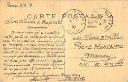 Cachet Timbre A Date NANCY 1913 DE PARIS POSTE RESTANTE NANCY - 1877-1920: Periodo Semi Moderno