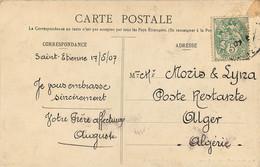 CARTE POSTE RESTANTE ALGER ALGERIE 1907 DE SAINT ETIENNE LOIRE - 1877-1920: Periodo Semi Moderno