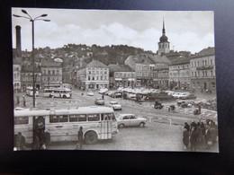 Bus + Auto, Voiture, Car / Kunstblumenstadt Sebnitz, Marktplatz Mit Blick Zur Kirche --> Written 1971 - PKW