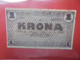 ISLANDE 1 KRONA 1941 Circuler (B.24) - Iceland