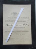 Faire-part De Décès De Monsieur Jacques DELHEZ Trempeur De La Manufacture D'Armes - Liège 1894 - Louis - Obituary Notices