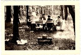 Photographie Originale A Manger ! Famille Au Pique Nique Confortable En Sous-Bois Et Réchaud à Gaz 1960/70 - Anonyme Personen
