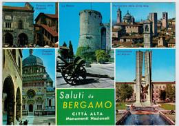 BERGAMO     SALUTI  DA  BERGAMO   CITTA' ALTA   MONUMENTI  NAZIONALI  (TARGHETTA) (VIAGGIATA) - Bergamo