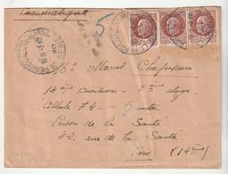 Lettre Avec Type Pétain, Grand Cachet Le Perreux Sur Marne Pour Prison De La Santé, Paris, 1943 - Storia Postale