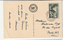 Carte Avec Samothrace N°354, 30c Vert Et Oblitération Paris-Musée Du Louvre, 1937 - Covers & Documents