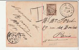 """Carte Taxée Provenance Italie Avec Oblitération """"Ancre"""" , Paris Distribution, 1911 - Covers & Documents"""
