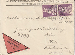 Allemagne Bavière Lettre Contre Remboursement München 1920 - Lettere