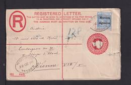 1898 - 20 C. Überdruck-Ganzsache Mit Zufrankatur Als Einschreiben Ab Tangier Nach Wien - Morocco Agencies / Tangier (...-1958)