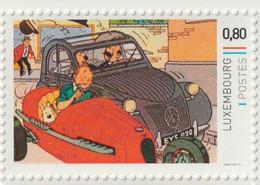 TINTIN - KUIFJE -  IN RACEWAGEN + 2 PK - JANSSEN EN JANSSEN - KL16 - LUXEMBOURG  ** MNH - Comics