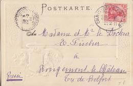 CP (Nid De Cigognes) Obl. Ambulant Colmar - Schnierlach Zug 16 (T 170B) Le 21/2/11 Sur TP 10pf Pour Belfort - Alsace-Lorraine