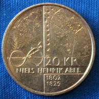 Norway 20 Kr 2002. 200 år - Niels Henrik Abels Birthday. Commemorative Coin - Norway