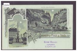 SOUVENIR DE LA CHAUX DE FONDS - LITHO - LE LOCLE - COL DES ROCHES - B ( PLI D'ANGLE ) - NE Neuchâtel