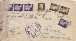 LUOGOTENENZA DA PALERMO A ROMA 29.03.1945 VARI ANNULLI PER CENSURA - IMPERIALE CON FASCIO E SENZA FASCIO - Marcofilie