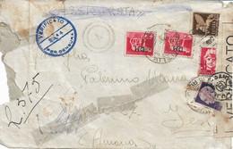 LUOGOTENENZA DA REGIA NAVE ATTILIO REGOLO PER JESI CON AFFRANCATURA MISTA , VARI TIMBRI CENSURA 31.03.1945 - Marcofilie