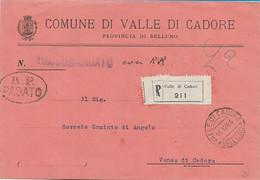 RSI  - R.P. PAGATO OVALE SU RACCOMANDATA VALLE DI CADORE 15.12.1944 PER VENAS - A0 - Marcofilie