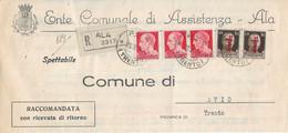 RSI - RACCOMANDATA DA ALA PER  AVIO (TRENTO) CON AFFRANCATURA MISTA IMPERIALE E SOVRASTAMPATO 21.02.1944 - A0 - Marcofilie