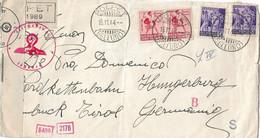 RSI - RACCOMANDATA DA POLPET (BELLUNO) PER LA GERMANIA 13.11.1944 AFFR. 75c TAMBURINO E ITALIA FASCISTA ANNULLI CESNURA - Marcofilie