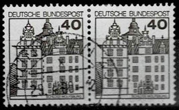 Bund 1980,Michel# 1037 O Burgen Und Schlösser, Waagerechtes Paar - Gebruikt