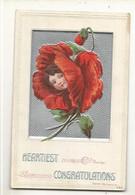 CPA,Th.Fleurs , Heartiest Congratulation , Carte Américaine - Flowers