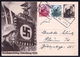 DR P 252 - 6 Pf Reichsparteitag 1934 Per Bahnpost Zug 49 München - Sehe Rückseite Bitte - Ganzsachen