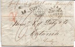 PREFILATELICA DALL'IRLANDA - BELFAST - IN ITALIA  - CATANIA 1857 - VARI BOLLI DI TRANSITO ATTRAVERSO TRE MARI - G85 - ...-1850 Voorfilatelie