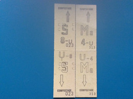 * RATP-METR0  4 COUPONS 4U 8 U Carte Hebdomadaire De Travail - Europe