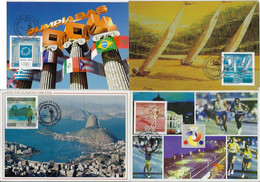 Brazil 2004 Complete Series With 4 Maximum Card StampOlympic Games Athens SportOlympicstorch Logo Yachting Athletics - Estate 2004: Atene