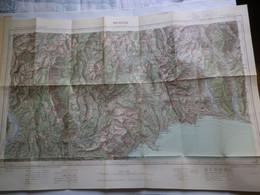 MENTON - XXXVII 42 - CARTE DE FRANCE TYPE 1922 - MINISTERE DE LA GUERRE - SERVICE GEOGRAPHIQUE DE L' ARMEE 1929 - Mapas Geográficas
